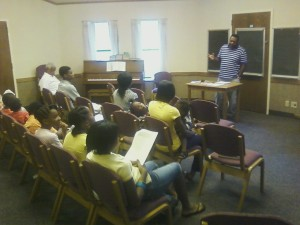 """Isaiah Cummings presents a lesson on """"Blacks in the Bible,"""" Friends of Latter-day Saints of African Descent, September 2011."""
